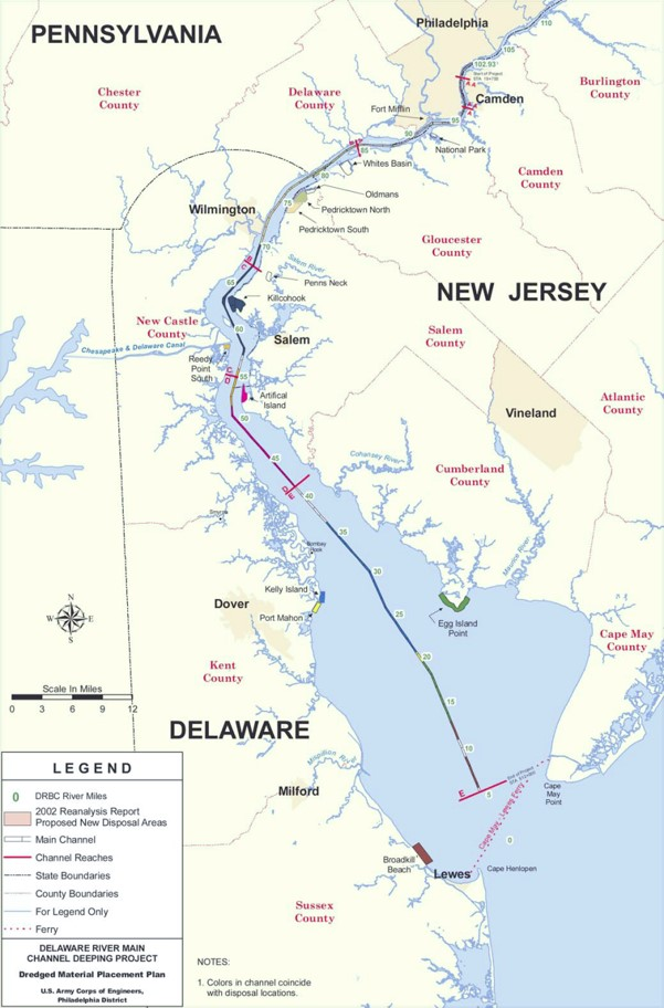 Main Channel Deepening PhilaPort - Delaware river on us map