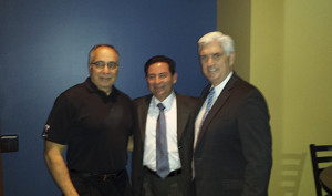 (L to R): Chief Executive Officer of Mullica Hill Group Cos. (SPF) Fred Sorbello, consul of Mexico in Philadelphia Carlos I. Giralt Cabrales, and PRPA Director of Marketing Sean Mahoney.